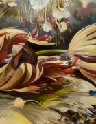 """The Dance Between Yesterday & Tomorrow 24""""x60"""" oil and spray paint on wood"""